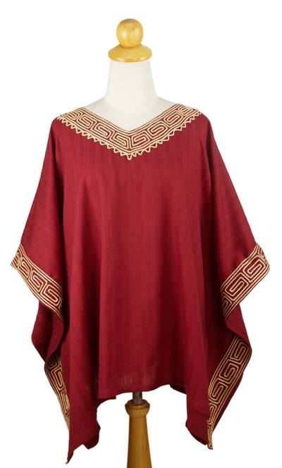 Cotton tunic top, 'Flowing Nature in Red' - Embroidered Red Cotton Tunic Top from Thailand