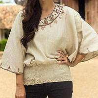 Cotton blouse, 'Cool Dawn' - Artisan Crafted Cotton Embroidered Cream Blouse