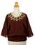 Cotton blouse, 'Cool Dawn' - Artisan Crafted Cotton Embroidered Brown Blouse (image 2a) thumbail