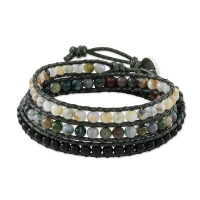 Multi-gemstone wrap bracelet, 'The Season' - Onyx Jasper Agate Silver Wrap Bracelet Artisan Crafted