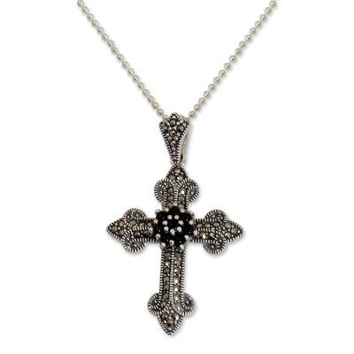 Onyx and marcasite pendant necklace, 'Cathedral Cross' - Handcrafted Silver Cross Necklace with Onyx and Marcasite