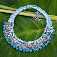 Aquamarine choker, 'Sweet Hydrangea' - Thai Artisan Crafted Crocheted Aquamarine Choker