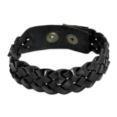 Men's braided leather bracelet, 'Midnight Paths' - Men's Artisan Crafted Braided Leather  Bracelet