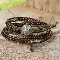 Carnelian and jasper wrap bracelet, 'Radiant Autumn' - Hand Beaded Carnelian and Jasper Wrap Bracelet from Thailand