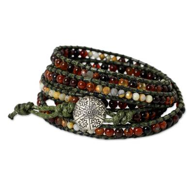 Hand Beaded Carnelian and Jasper Wrap Bracelet from Thailand