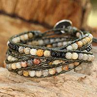 Jasper and onyx wrap bracelet, 'Thai Autumn' - Bohemian Style Jasper and Onyx Beaded Wrap Bracelet