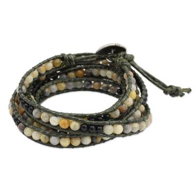 Jasper and onyx wrap bracelet, 'Thai Autumn' - Hand Beaded Jasper and Onyx Wrap Bracelet