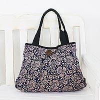 Cotton shoulder bag, 'Blue Thai Garden'