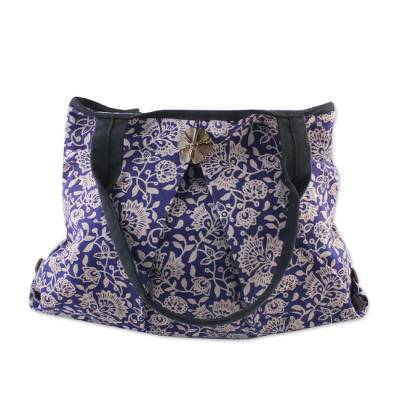 Cotton shoulder bag, 'Blue Thai Garden' - Thai Blue Cotton Print Shoulder Bag