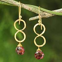 Gold plated garnet earrings, 'Red Infinity'