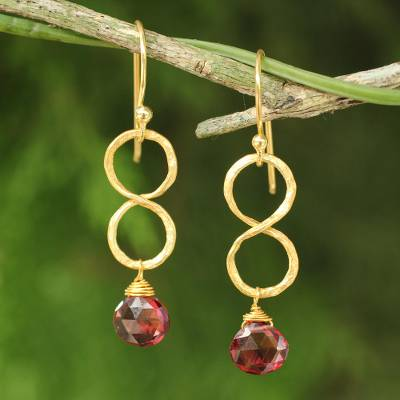 Gold plated garnet earrings, 'Red Infinity' - 24k Gold Plated Garnet Dangle Earrings