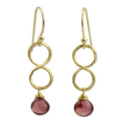 Gold plated garnet earrings, 'Red Infinity' - 24k Gold Plated Garnet Dangle Earrings