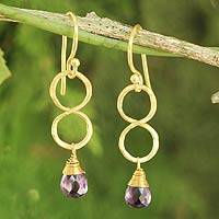 Gold plated amethyst earrings, 'Violet Infinity' - 24k Gold Plated Amethyst Dangle Earrings