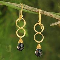 Gold plated onyx earrings, 'Infinity' - 24k Gold Plated Sterling and Brass Black Onyx Earrings