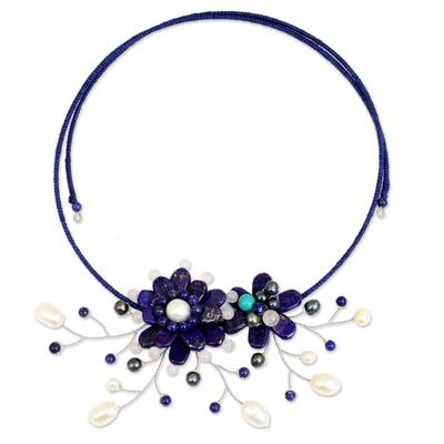 Lapis lazuli and cultured pearl flower necklace, 'Blue Sonata' - Lapis Lazuli and Pearl Flower Choker Necklace