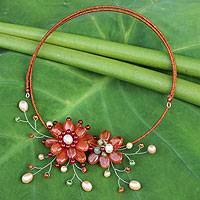 Carnelian and cultured pearl flower necklace, 'Orange Sonata' - Carnelian and Pearl Flower Necklace