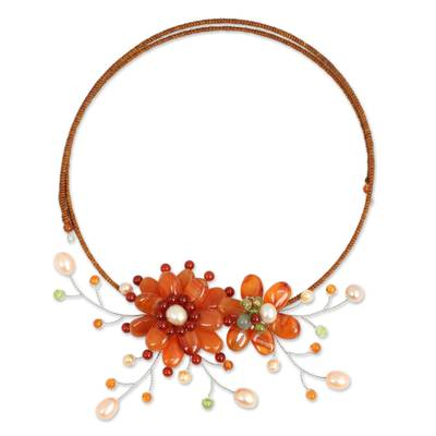 Carnelian and Pearl Flower Necklace