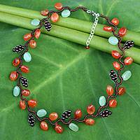Carnelian and garnet beaded necklace, 'Sweet Ivy' - Artisan Crafted Multi-gemstone Necklace