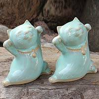 Celadon ceramic statuettes, 'Good Luck Green Cats' (pair) - Handcrafted Thai Celadon Ceramic Cat Sculptures (Pair)