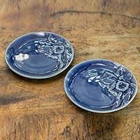 Celadon ceramic plates, 'Enchanted Sapphire Orchids' (pair) - Handcrafted Blue Celadon Ceramic Plates from Thailand (pair)
