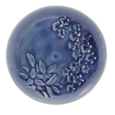 Celadon ceramic plate, 'Enchanted Sapphire Orchids' - Handcrafted Blue Celadon Ceramic Plate from Thailand