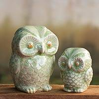 Celadon ceramic figurines, 'Little Light Green Owls' (pair) - Handcrafted Ceramic Green Owls (Set of Two)