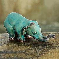 Featured review for Ceramic statuette, Turquoise Elephant Sawasdee