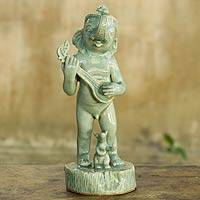 Celadon ceramic statuette, 'Musical Ganesha' - Unique Ganesha Figurine from Thailand