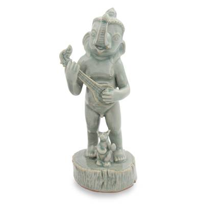 Celadon ceramic statuette, 'Musical Ganesha' - Celadon Ceramic Hinduism Figurine from Thailand