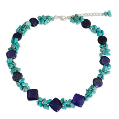 Handcrafted Lapis and Turquoise Colored Necklace