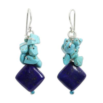 Lapis lazuli beaded earrings, 'Blue Muse' - Handcrafted Lapis and Turquoise Colored Earrings