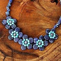 Lapis lazuli and cultured pearl flower necklace, 'Daisy Ocean' - Lapis Lazuli Grey Pearls and Turquoise coloured Necklace