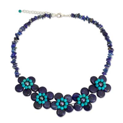 Lapis Lazuli Grey Pearls and Turquoise Colored Necklace