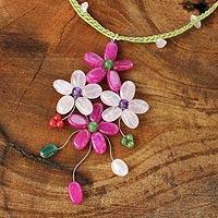 Rose quartz flower necklace, 'Pink Bouquet' - Fair Trade Jewelry Artisan Crafted Beaded Necklace