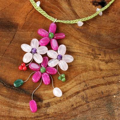 Rose quartz flower necklace, 'Pink Bouquet' - Fair Trade jewellery Artisan Crafted Beaded Necklace