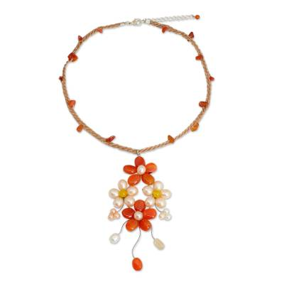 Pearl and Carnelian Handcrafted Flower Necklace