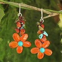 Carnelian and unakite flower earrings, 'Sunny Blooms' - Sterling Silver Chip Cut Carnelian Earrings