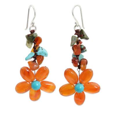 Carnelian and unakite flower earrings, 'Sunny Blooms' - Carnelian Handcrafted Earrings