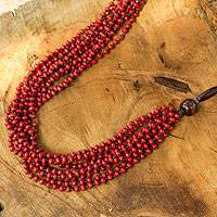 Wood beaded necklace, 'Red Muse' - Bohemian Wooden Multi-Strand Necklace