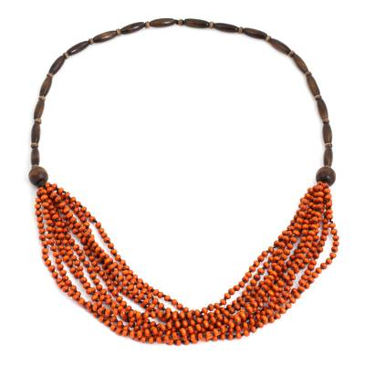 Wood beaded necklace, 'Orange Muse' - Handcrafted Wood Beaded Necklace