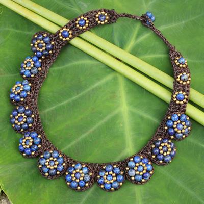 Lapis lazuli beaded necklace, 'Daisy Melody' - Lapis Lazuli Necklace and Brass Hand Crocheted Necklace