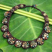 Agate beaded necklace, 'Daisy Melody'