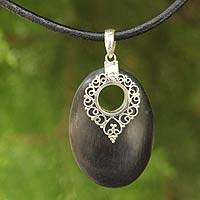 Sterling silver and wood pendant necklace, 'Chiang Mai Charm'