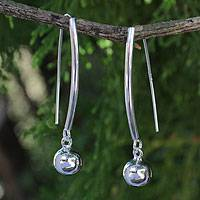 Sterling silver dangle earrings, 'Snow Drop' - Thai Handcrafted Minimalist Silver Earrings