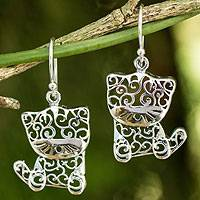 Sterling silver dangle earrings, 'Filigree Kitten' - Unique Silver Cat Earrings from Thailand