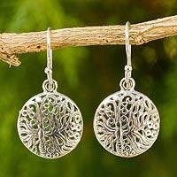 Sterling silver dangle earrings, 'Butterfly Moon' - Filigree Butterfly Earrings