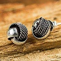Sterling silver button earrings, 'Textures' - Artisan Crafted Textured Silver Knot Button Earrings