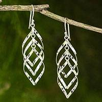 Sterling silver dangle earrings, 'Leaf Cluster'