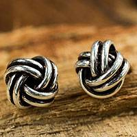 Sterling silver button earrings, 'Double Love Knot' - Unique Silver Stud Knot Earrings