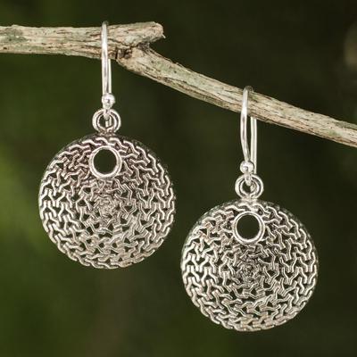 Sterling silver dangle earrings, 'Energized' - Modern Silver Dangle Earrings from Thailand